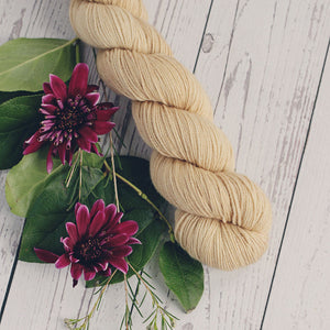 hand dyed tan merino wool cashmere nylon yarn, 4 oz. skein, in fingering and Dk weight