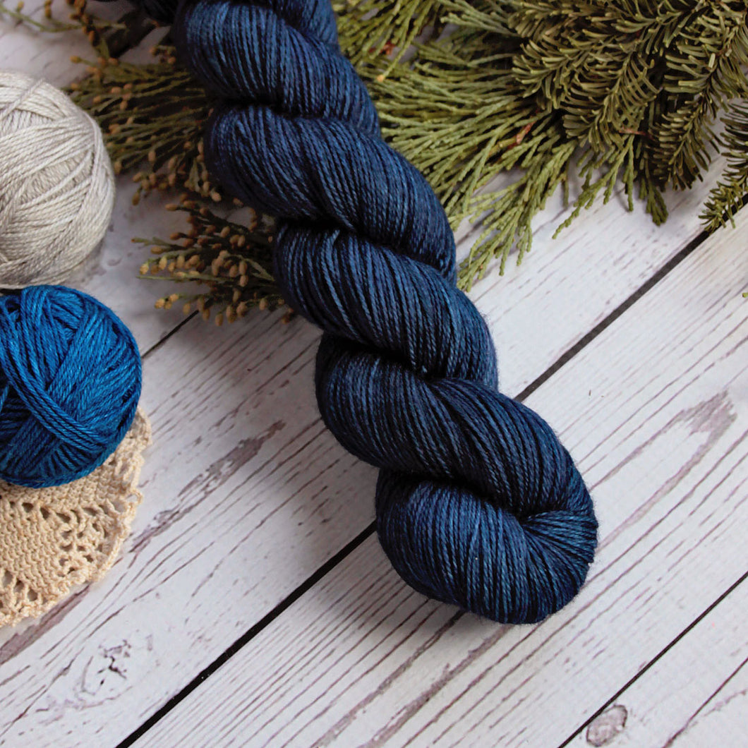 hand dyed yarn in solid navy blue, merino wool, nylon, sock yarn, fingering weight yarn, handmade in the US by Yarn Love