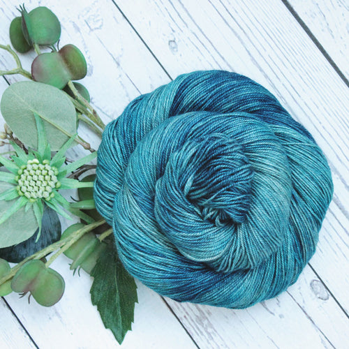 hand dyed blue merino wool silk yak yarn, 100 gram skein, hand made by Yarn Love