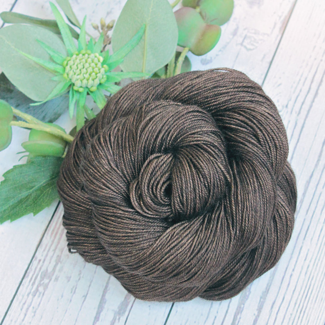 hand dyed brown merino wool silk yak yarn, 100 gram skein, hand made by Yarn Love