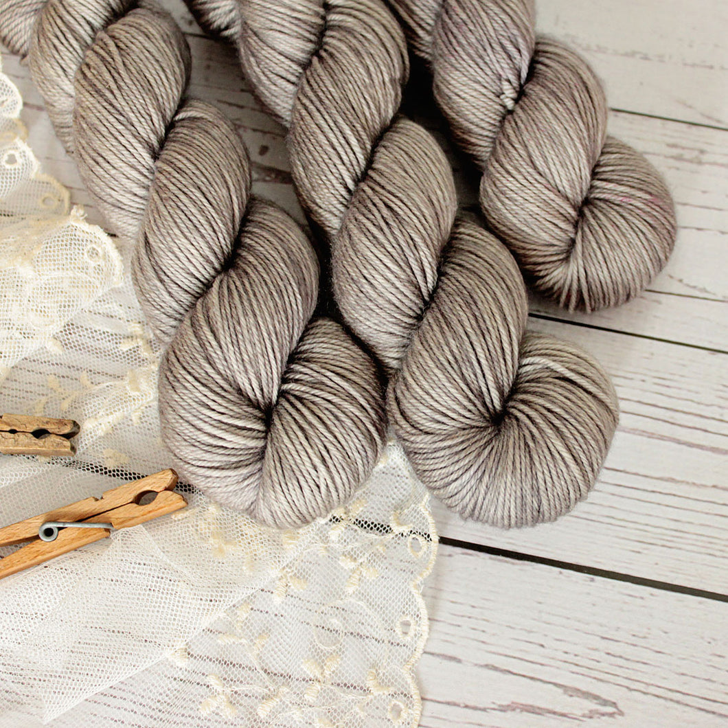 hand dyed yarn, merino wool, solid grey, 4 oz. skein, handmade in the US by Yarn Love