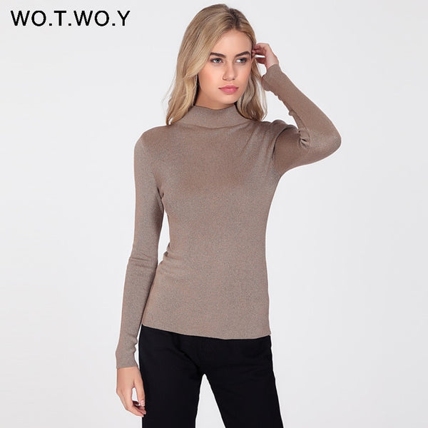 23383083998 WOTWOY Shiny Lurex Turtleneck Sweater Women Pullover Knitted Slim 2018  Winter Cashmere Sweaters Womens Jumpers Basic