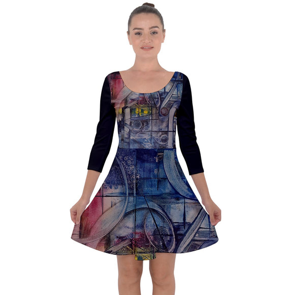 Special Collection Cube 8 Quarter Sleeve Skater Dress - Shop Madella-Mella Style