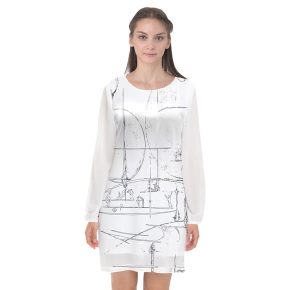 Special Collection Music 5 Long Sleeve Chiffon Shift Dress - Shop Madella-Mella Style