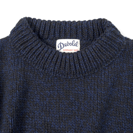 Nansen Crew Neck, Navy Melange w/ Chainstitch Embroidery