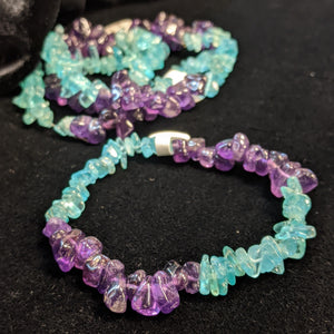 Blue Apatite and Amethyst Chip Bracelet