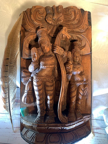 Radha and Krishna Carved Panel