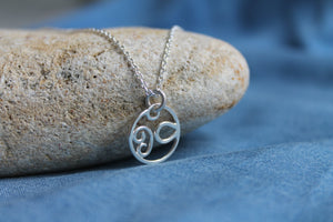 Mini swirled seas necklace on 40cm chain
