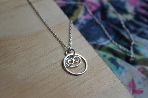 Small swirled seas necklace on 45cm chain