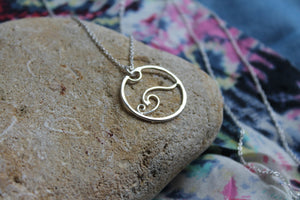 Wave charm necklace #2 on 60cm chain