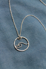 Load image into Gallery viewer, Wave charm necklace #2 on 60cm chain