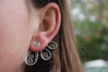 Load image into Gallery viewer, Swirling petal ear jacket earrings