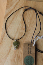 Load image into Gallery viewer, Seaglass swirl Necklace (Portarlington Beach, VIC) on dark brown cord