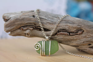 Seaglass swirl Necklace (Barwon Heads, VIC) 45cm chain