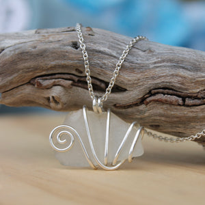 Seaglass swirl Necklace (Indented Head, VIC) on 45cm chain