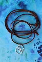 Load image into Gallery viewer, Meeting waves necklace on brown suede cord