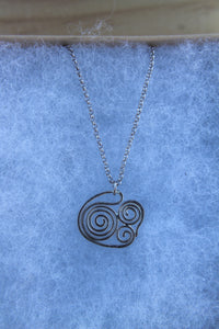 Fine swirly swell necklace on 45cm chain