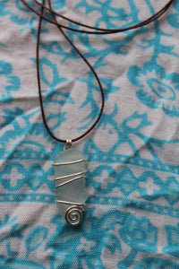 Seaglass swirl Necklace (Dee Why Beach, NSW) on cord