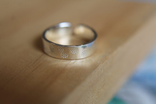 Salty footprints band ring - Adjustable (size L- O)