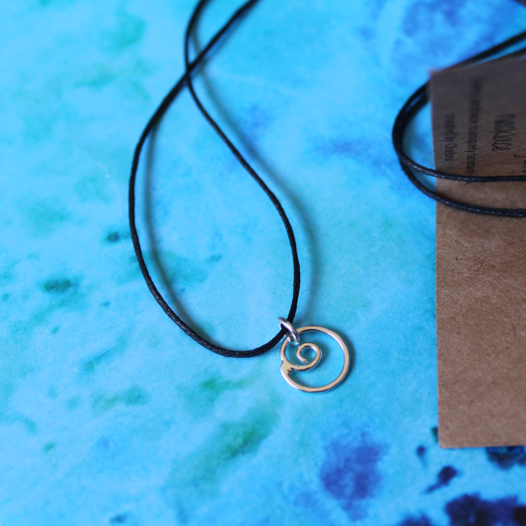 Swirly flow necklace on black cord