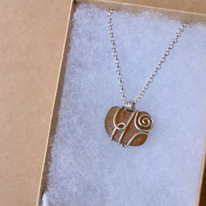 Brown seaglass swirl necklace on your choice of cord or silver chain