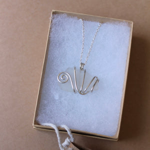 White seaglass swirl necklace on your choice of cord or silver chain