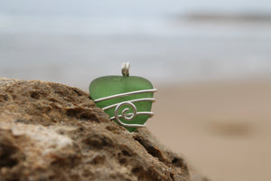 Green seaglass swirl necklace on your choice of cord or silver chain