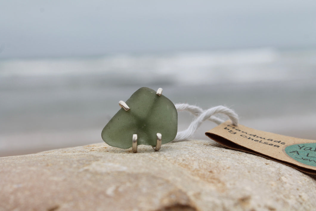 Seaglass swirl ring (Cape Bridgewater, VIC) Size L1/2