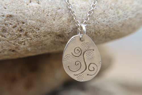 Swirled & sandy necklace on sterling silver chain 45cm