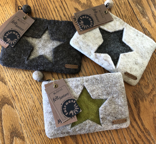 Wool Felt Zipper Pouch with Star