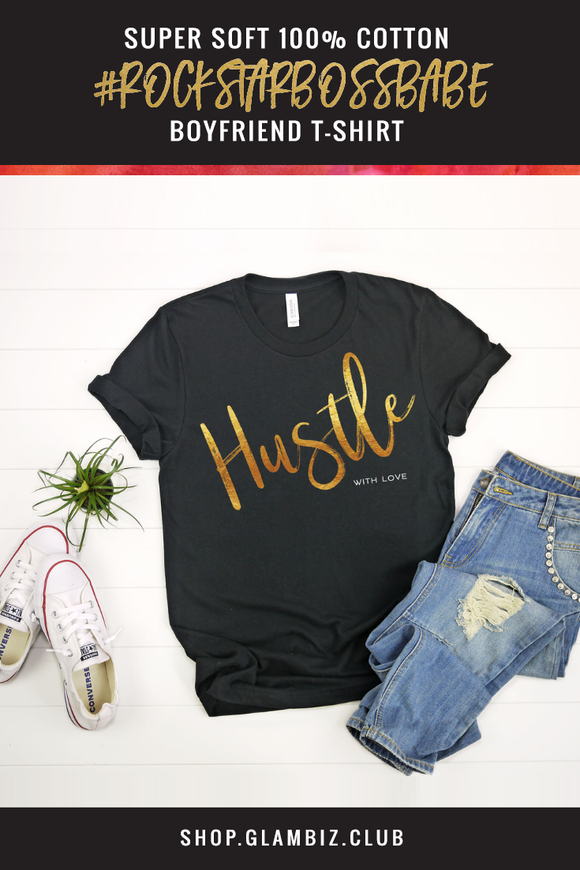 'HUSTLE WITH LOVE' Collection Women's T-shirt, Black & Gold