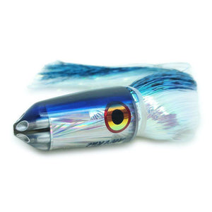 "Ali'i Kai Lures -Jetted 9"" Bullet 6-Shooter Blue & Silver - Skirted in Flashabou New-Big Game Lures Hawaii"