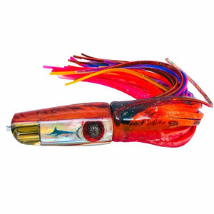 "Big Reidee Lures –Orange Flame over Pearl 9"" Jetted x 4 Plunger – Skirted – New-Big Game Lures Hawaii"