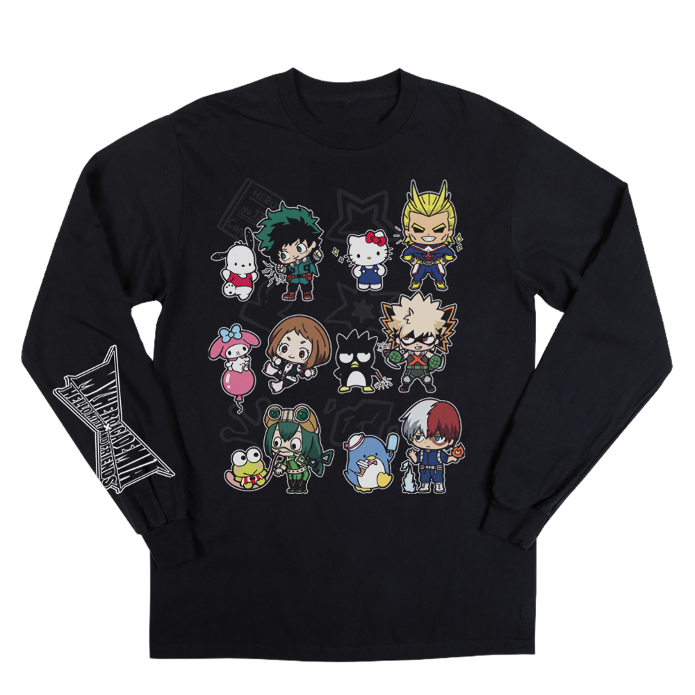 My Hero X Hello Kitty & Friends Group Black Long Sleeve