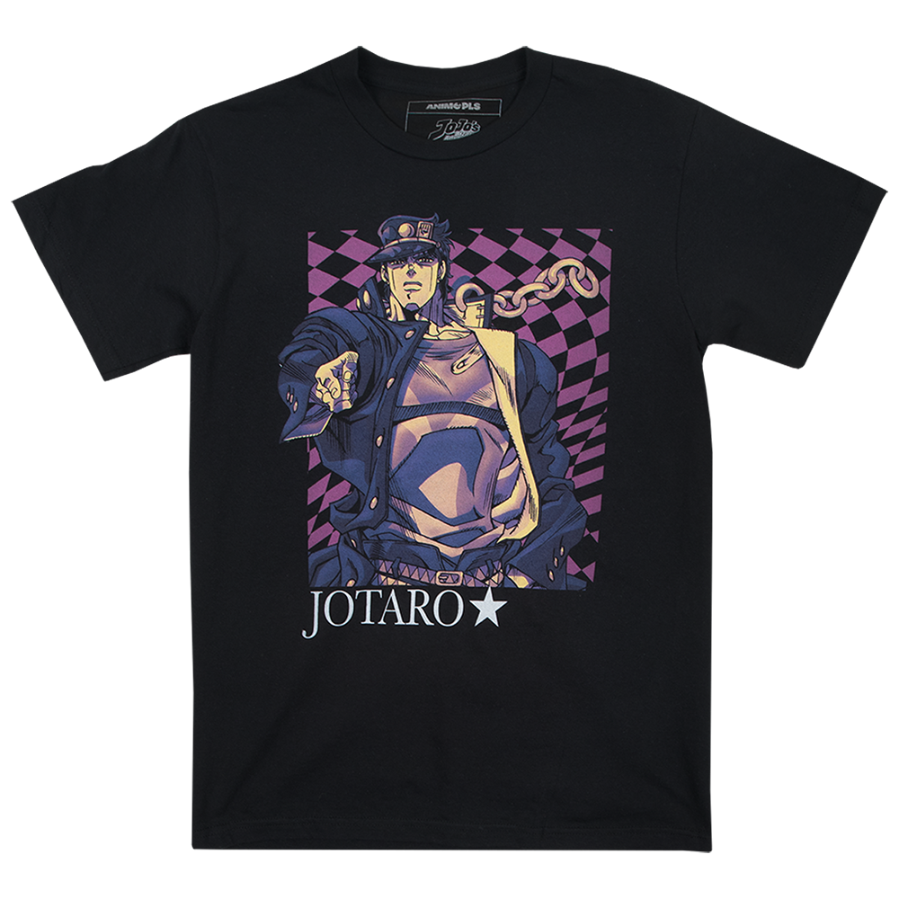 JoJo's Bizzare Adventure Jotaro Checkered Black Tee