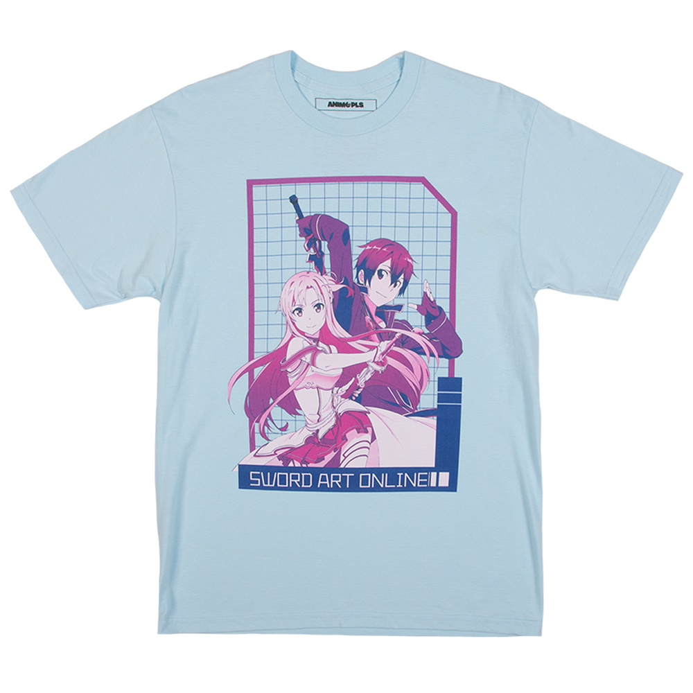 Sword Art Online Kirito and Asuna Blue Tee