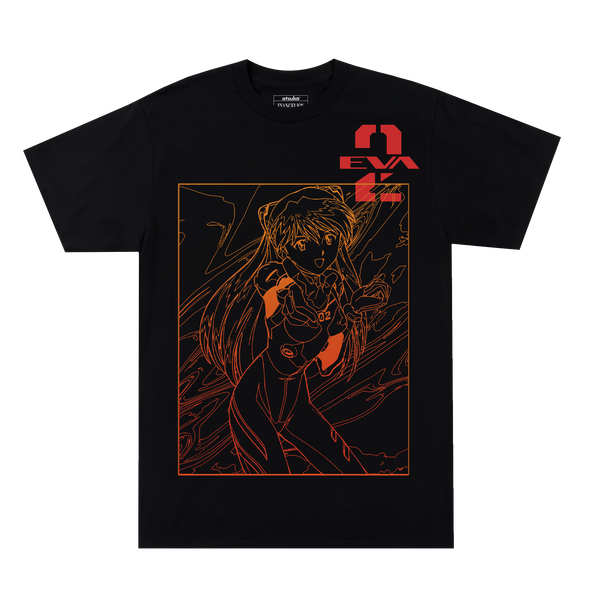 Evangelion Asuka Fire Red Outline Black Tee