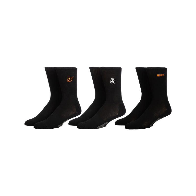 Naruto Three Pack Black Crew Socks