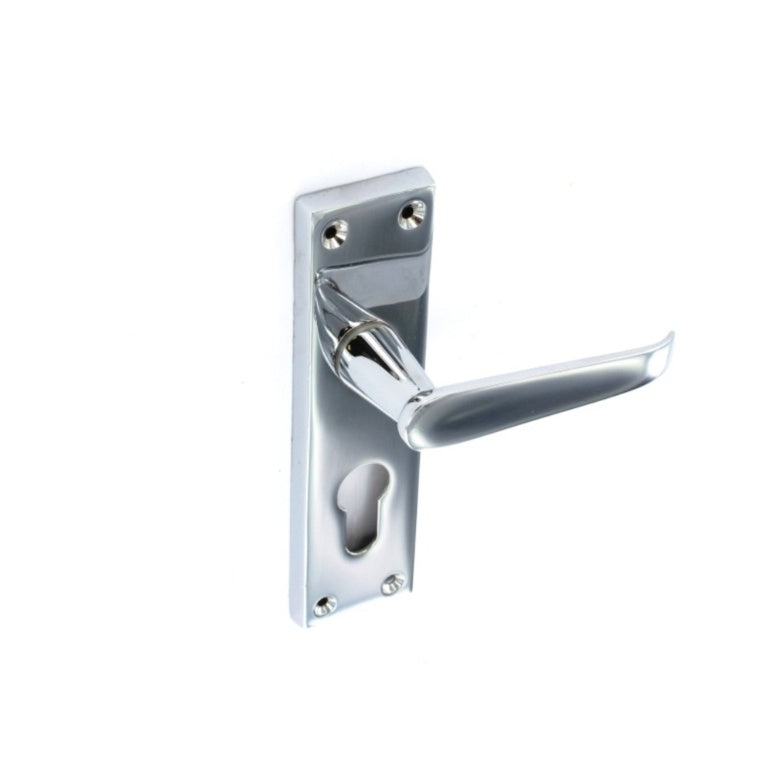 Securit-Chrome Flat Euro Lock Handles 48mm C/C (Pair)