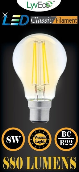 Lyveco-BC Clear LED 8 Filament 880 Lumens Gls Dimmable 2700K