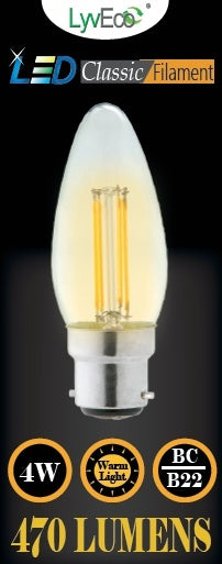 Lyveco-BC Candle Clear LED 4 Filament 470 Lumens Dimmable 2700K