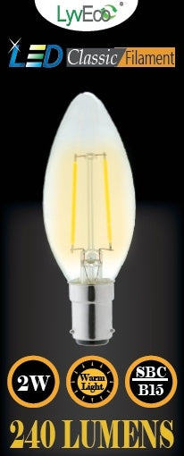 Lyveco-SBC Clear LED 2 Filament 240 Lumens Candle 2700K