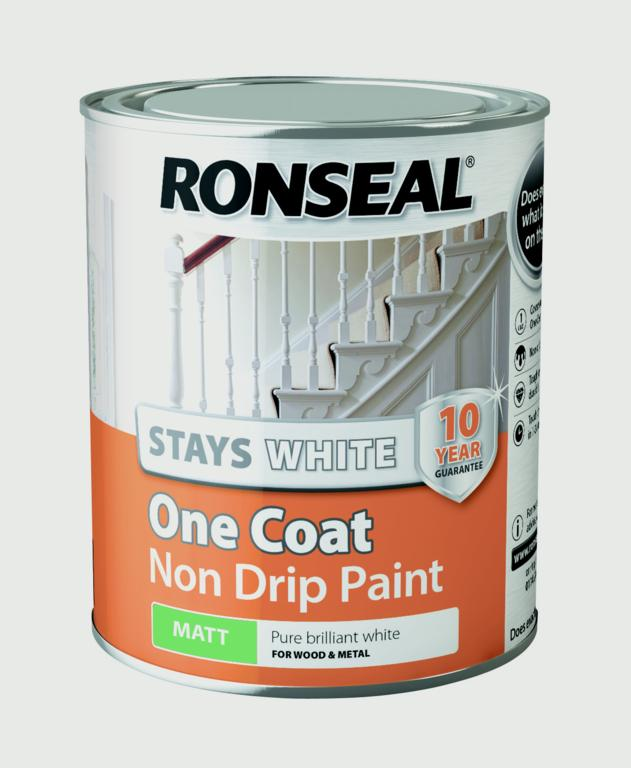Ronseal-Stays White One Coat Non Drip Paint