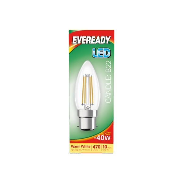 Eveready-LED Filament Candle 470LM B22 BC