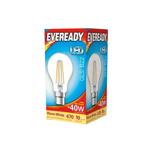 Eveready-LED Filament GLS B22 470LM BC