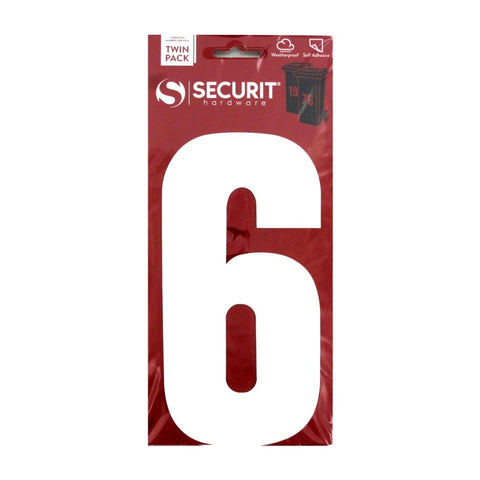 Securit-White Self Adhesive Wheelie Bin Numbers Pack 2