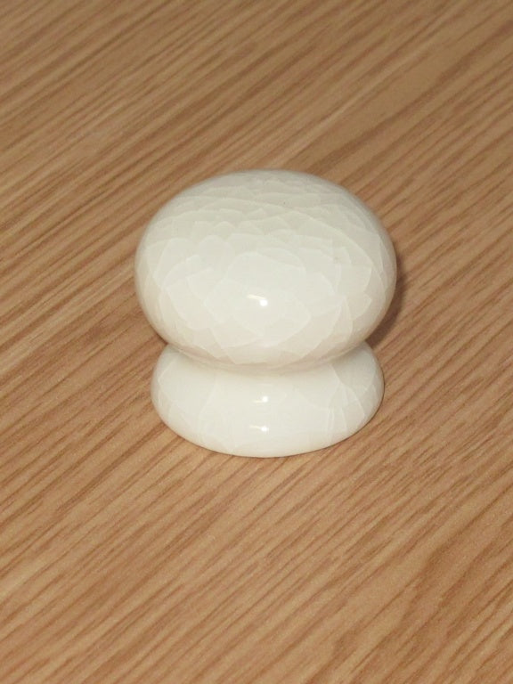 Securit-Cracked White Ceramic Knobs (2)