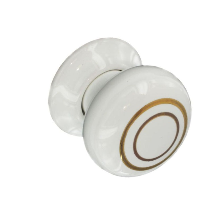 Securit-Ceramic Door Knobs White/Gold Lines (Pair)