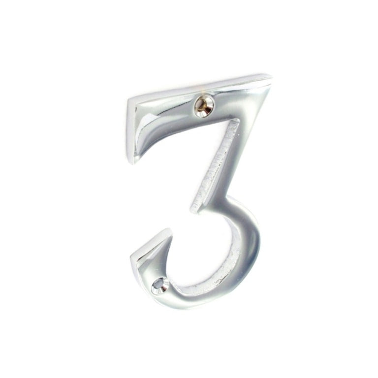 Securit-Chrome Numeral 3