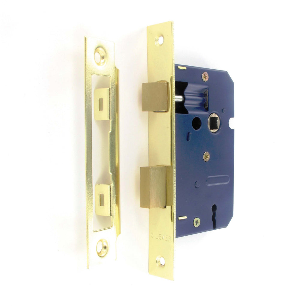 Securit-3 Lever Sash Lock Brass Plated with 2 Keys